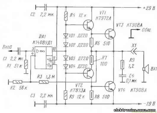 Транзисторный УНЧ на 70 ВтУсилители.